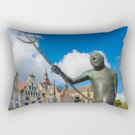 Sculpture on a place in Rostock Rectangular Pillow