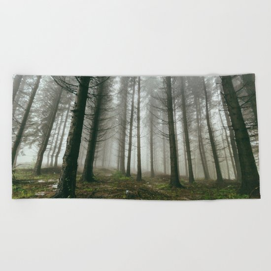 Follow me into the woods Beach Towel