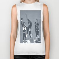 power rangers Biker Tanks featuring Black Power Rangers by .escobar