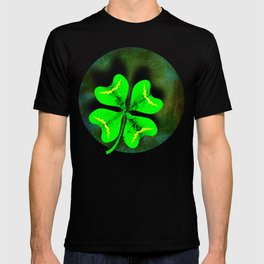 Four Leaf Clover on Green Textured Background T-shirt