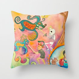 Fighting Demons Throw Pillow