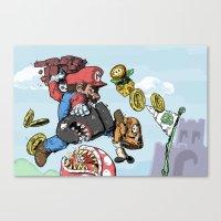 super mario Canvas Prints featuring Super Mario by Sharkeye Jones