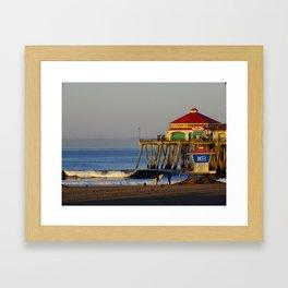 Morning Surfing Huntington Beach Pier Framed Art Print