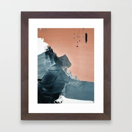 Renew: a minimal abstract piece in coral and blue by Alyssa Hamilton Art Framed Art Print