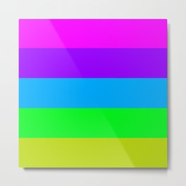 Colorful Stripes Purple Blue Green Metal Print