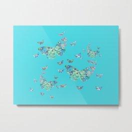 Butterflies in Digital Watercolors on Cool Blue Metal Print