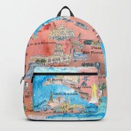 Havana Cuba Illustrated Travel Poster Favorite Sightseeing Map Backpack