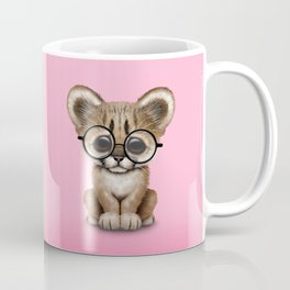 Cute Cougar Cub Wearing Reading Glasses on Pink Coffee Mug