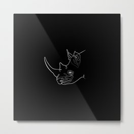 Rhino (black) Metal Print