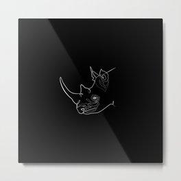 Rhino (black) Metal Print