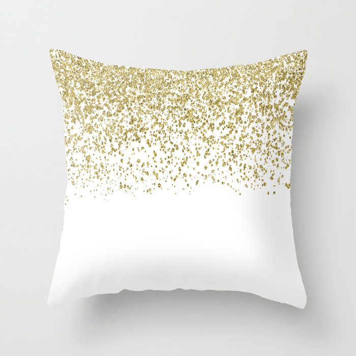 Sparkling Gold Glitter Confetti On Simple White Background