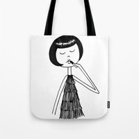 lipstick Tote Bags featuring Lipstick by flapper doodle