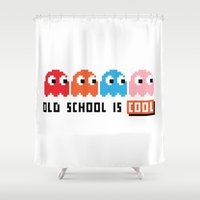 pacman Shower Curtains featuring Pacman by PixelPower