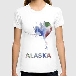 Alaska map outline Bright multicolored nebulous watercolor T-shirt