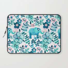 Dusty Pink, White and Teal Elephant and Floral Watercolor Pattern Laptop Sleeve