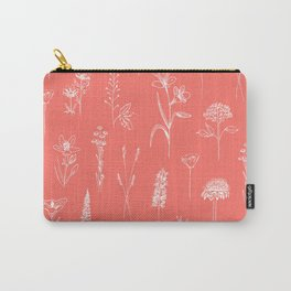 Patagonian wildflowers living Coral Carry-All Pouch