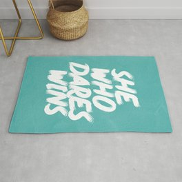She Who Dares Wins Motivational Quote Rug