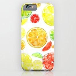 colorful citrus fruit watercolor iPhone Case