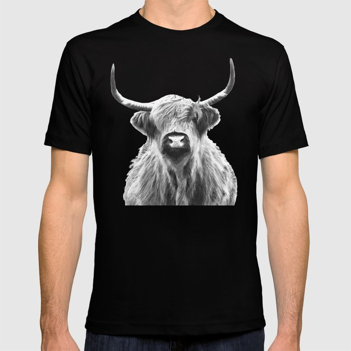 Black and White Highland Cow Portrait T-shirt