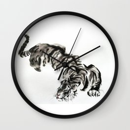 tiger watercolor japan style chinese ink Wall Clock