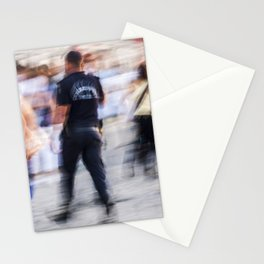 Turkish policeman moving in the crowd Stationery Cards