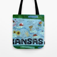kansas city Tote Bags featuring KANSAS by Christiane Engel