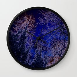 Psychadelic trees frame the moon Wall Clock