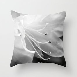 Beautiful Azalea Bloom in Black and White Throw Pillow