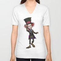 mad hatter V-neck T-shirts featuring Mad Hatter by apgme