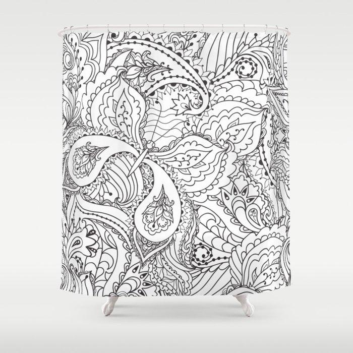 Floral Sketch Shower Curtain