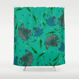 Angry Little Fish Pattern Shower Curtain