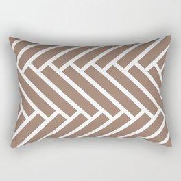 Dark beige and white herringbone pattern Rectangular Pillow