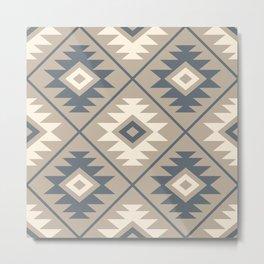 Aztec Symbol Stylized Pattern Blue Cream Sand Metal Print