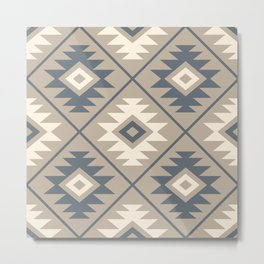 Aztec Symbol Stylized Pattern Blue Cream Sand Metal Print