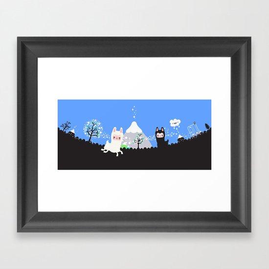 Run alpaca, run! Framed Art Print