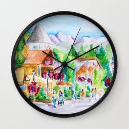 Vail Village Colorado Watercolor Wall Clock