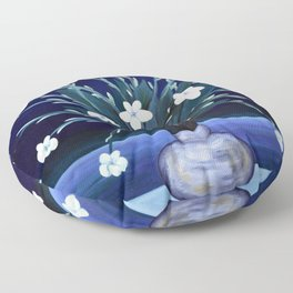 Night of the Blue & White Canadian Anemone and Lonely Female Figure by Marguerite Blasingame Floor Pillow