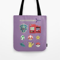 video games Tote Bags featuring video games by Black