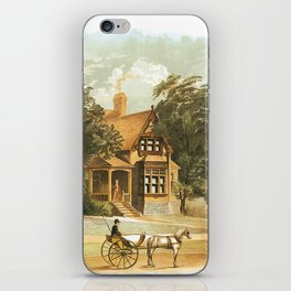 Vintage Victorian Houses illustration, Horse Carriage, Two People with Tennis Rackets iPhone Skin