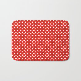 Mini Reversed White Canadian Maple Leaf on Red Bath Mat