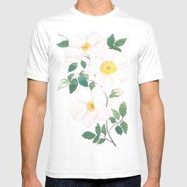 white wild Rosa rubiginosa watercolor T-shirt