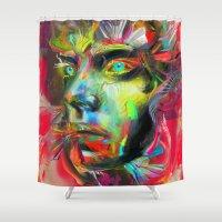 archan nair Shower Curtains featuring Rainscape Rhythm by Archan Nair
