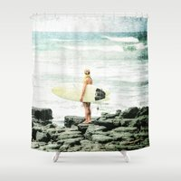 surfer Shower Curtains featuring Surfer Girl by Elliott's Location Photography