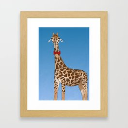 Giraffe Wearing Bowtie Framed Art Print