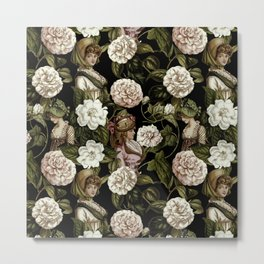 Vintage Botanical Flower Lady Pattern Metal Print