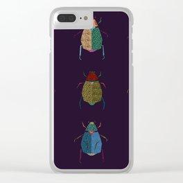 Beetles (dark purple) Clear iPhone Case