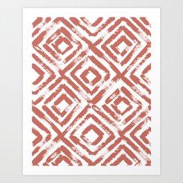 Terracotta Geometric Brush Stroke Art Art Print