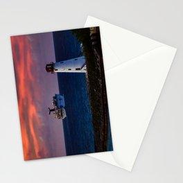 Cruise Ship Leaving Nassau Harbor Lighthouse Sunset Stationery Cards