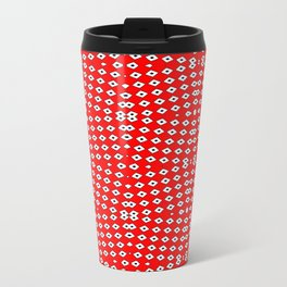 Red Background, White Diamond and Black Spots 2 Travel Mug