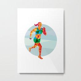 Female Triathlete Marathon Runner Low Polygon Metal Print